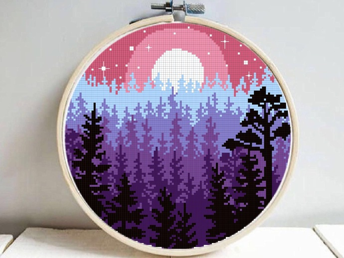 Forest Modern Cross Stitch Pattern, starry night, nature, galaxy, sunset, moon,