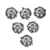 925 Sterling Silver Handmade Antique Flower Caps  Oxidized Silver