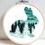 Hare silhouette modern cross stitch pattern, winter, snow, nature, landscape,