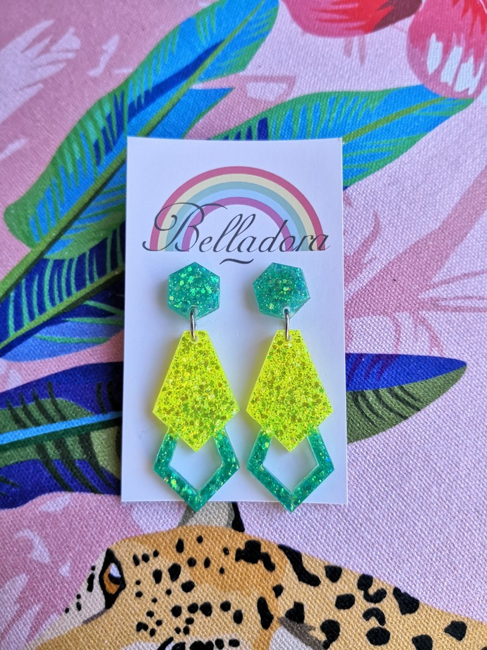 Glamour Dangle - Green and Yellow