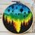 Forest Modern Cross Stitch Pattern, starry night, nature, balloon, rainbow,