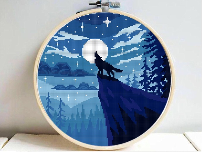 Wolf Forest Modern Cross Stitch Pattern, starry night, nature, galaxy, animal,