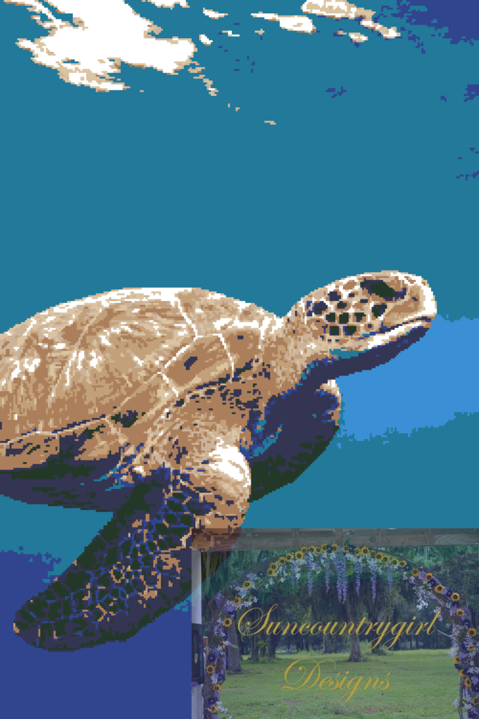 Swimming Sea Turtle 250 x 375 graphghan pattern