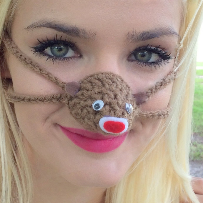 NOSE WARMER  Brown Sock Monkey  Gag Gift  Nose Cozy  Outdoor Indoors  sporting