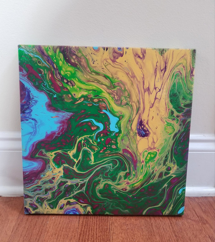 12x12 bright, colorful acrylic pour painting- greens, yellows, purples, berries,