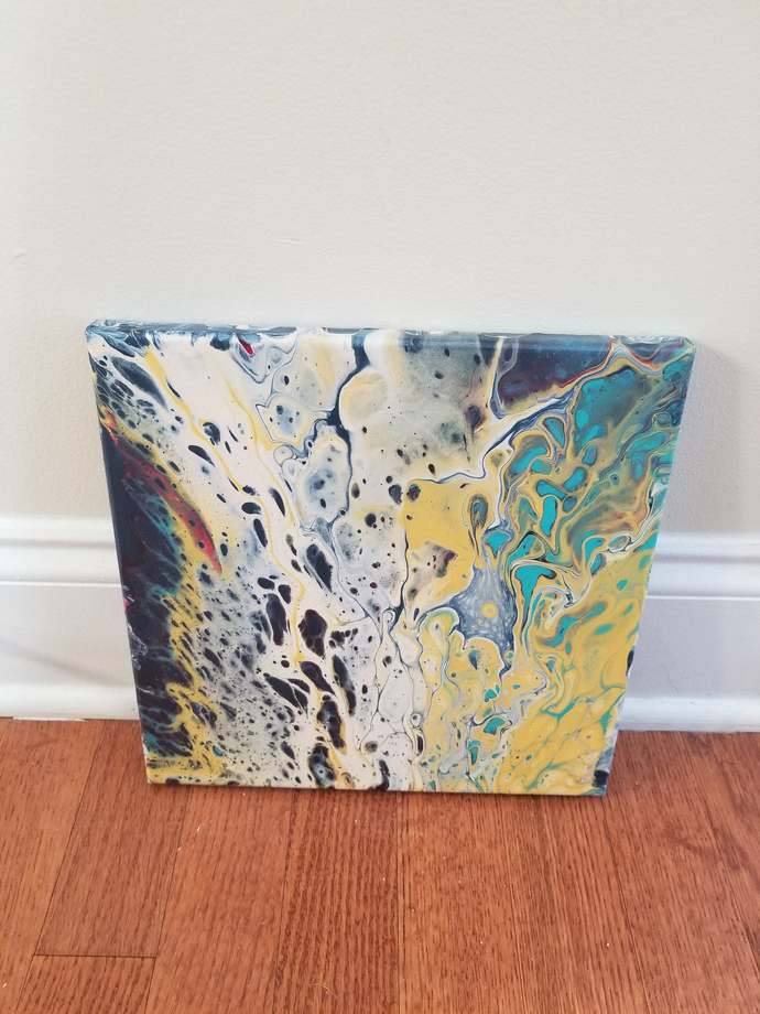 """Colorful 10""""x10"""".5"""" acrylic pour painting- fluid blues, yellows, greens, red-"""
