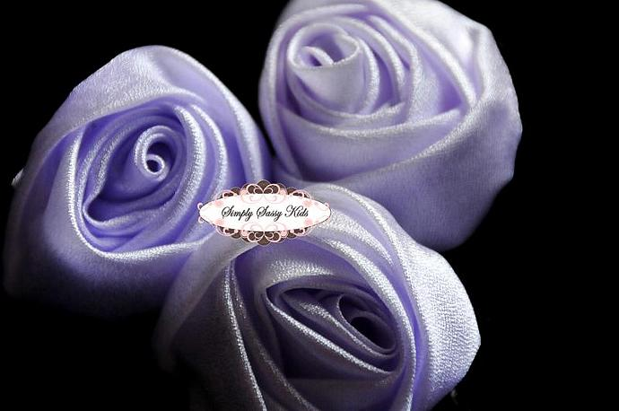 ~ Lavender ~ 3 inch Satin Rolled Rosettes ~ Perfect roses for DIY fashion or
