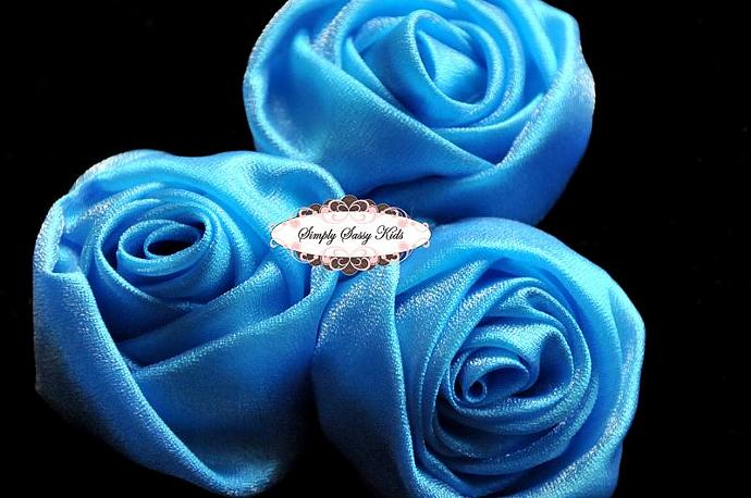 ~ Turquois ~ 3 inch Satin Rolled Rosettes ~ Perfect roses for DIY fashion or