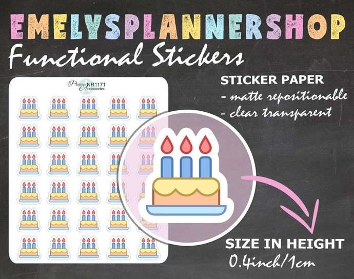 Birthday Cake Stickers,Cake Planner Stickers,Birthday Stickers,Planner