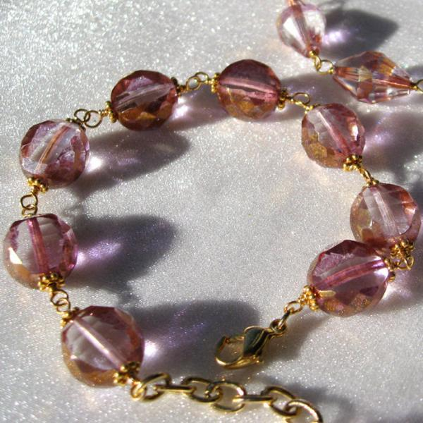 Pink Ballerina Czech Glass Bracelet