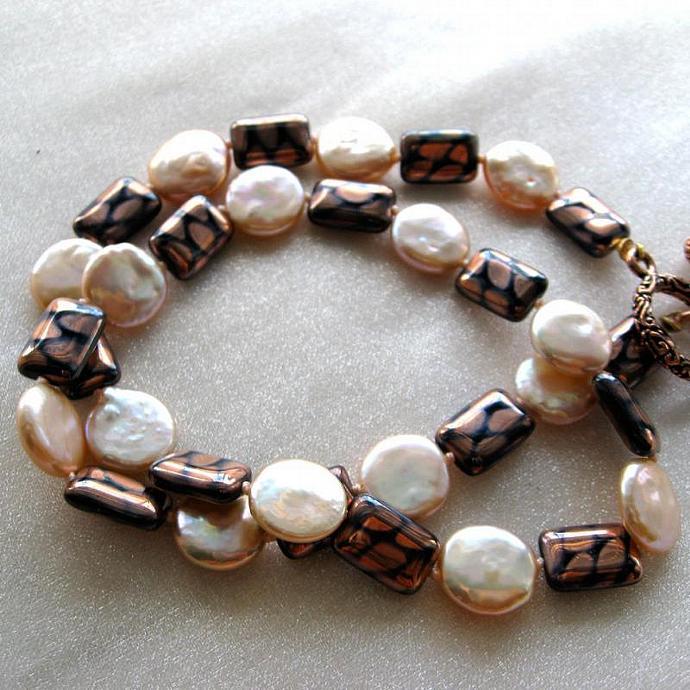 Copper Creme Brulée Pearl Necklace