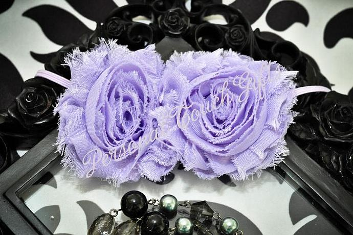 Purple Chiffon Roses Headband