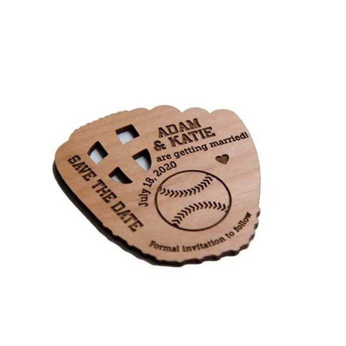 10+ Baseball Glove Shape Save the Date Magnets - Laser cut and Etched on Wood