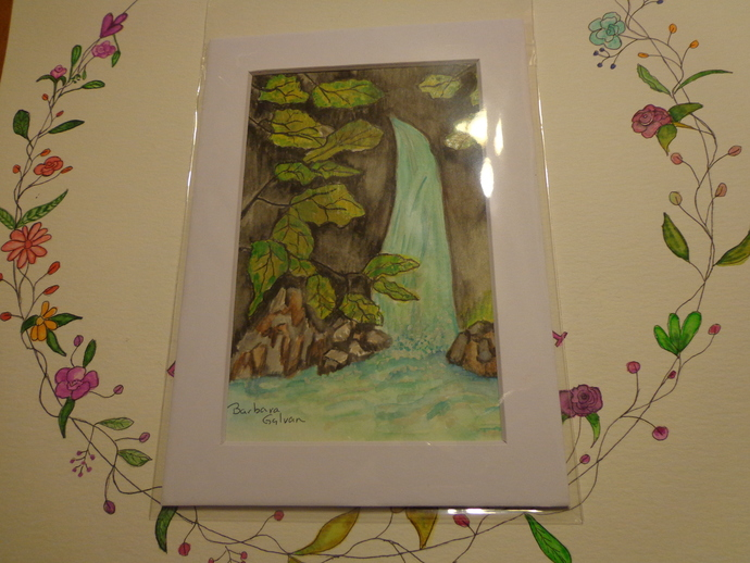 Waterfall Watercolor Matted Print