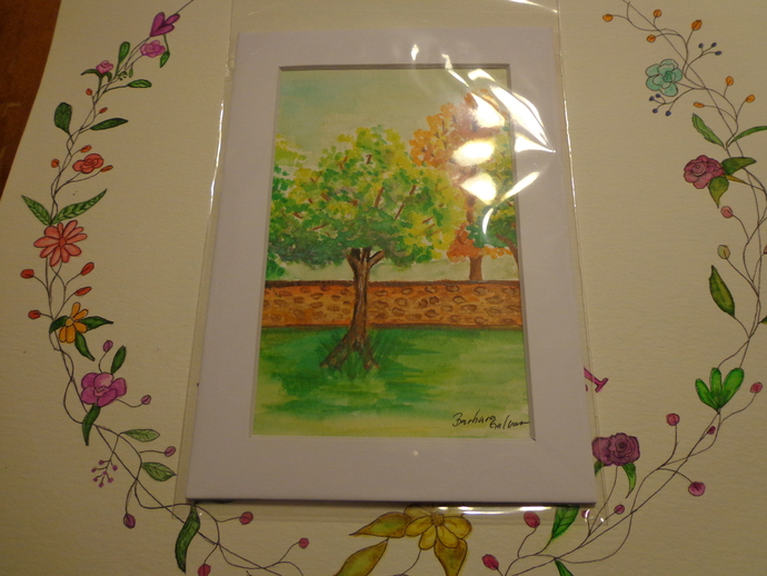 Autumn By The Wall Watercolor Matted Print