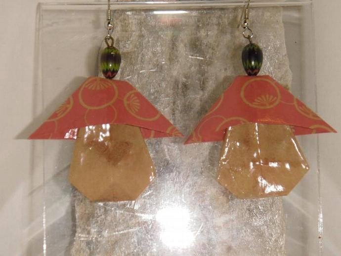 Origami Fairy Mushroom Earrings