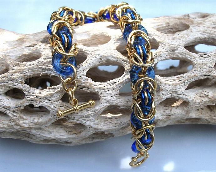 Cobalt Glass and Brass Byzantine