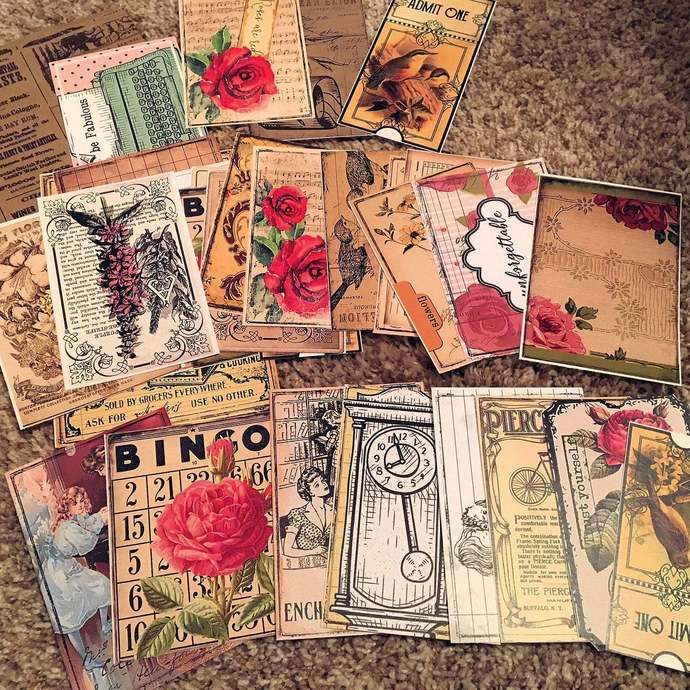 Already Printed, Vintage Journal Cards, Samples from the Shop