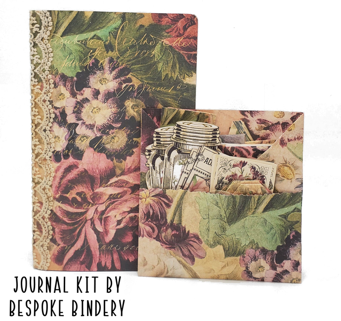 Vintage Floral Journal Kit: Comes with an 80 page premade journal and ephemera