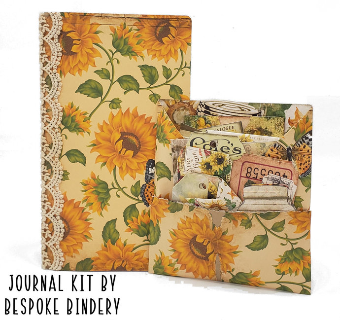 Sunflowers Journal Kit: Comes with an 80 page pre-made journal and ephemera