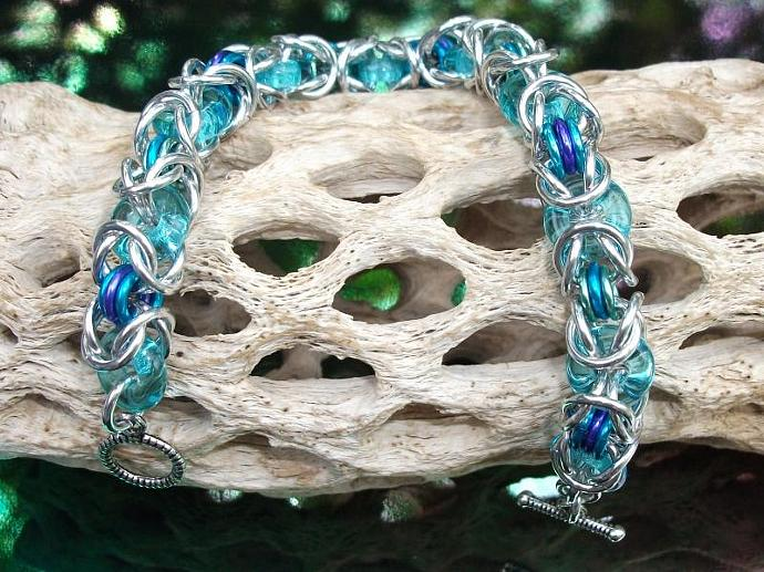 Seafoam Glass and Aluminum Byzantine