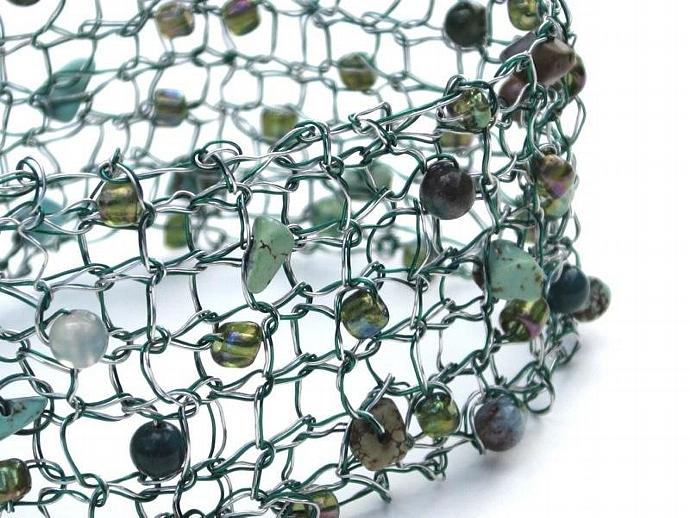 Handcrafted Double Strand Silver Green Knit Wire Beaded Bracelet for sale