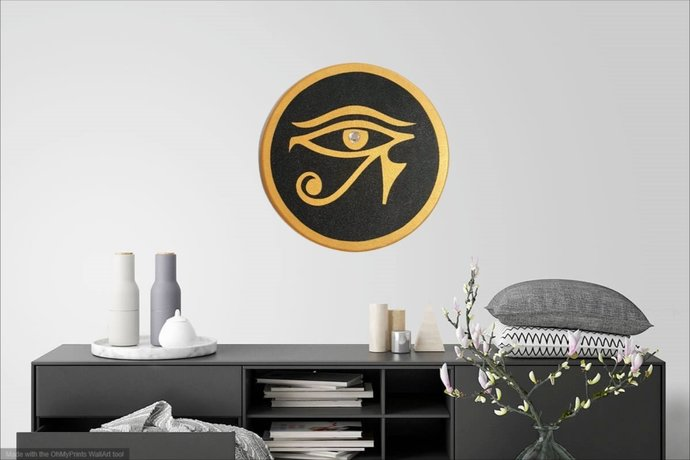 Egyptian Symbol, Eye of Horus Wall hanging, Black and Gold Eye Wall Sculpture,