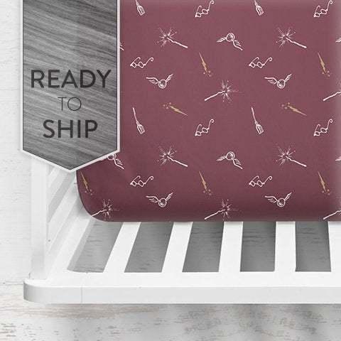 Harry Symbols Crib Sheet ~ HP Crib Sheet ~ Baby Bedding ~ Hogwarts Crib Sheet ~