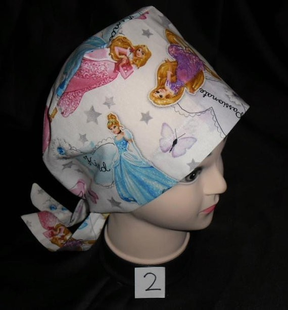 Handmade Disney Princesses Pediatric Ladies Nurses Surgical Scrubs Hats Scrub
