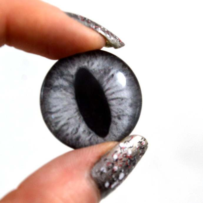 Silver Gray Cat Glass Eyes - Pick Your Size - Jewelry Making Art Dolls Taxidermy