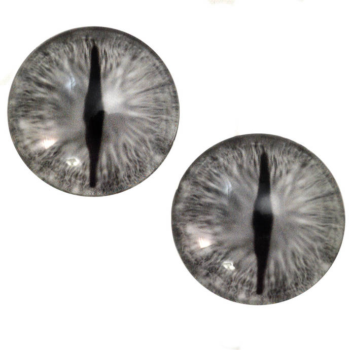 Silver Dragon Glass Eyes - Pick Your Size - for Jewelry Making, Art Dolls,