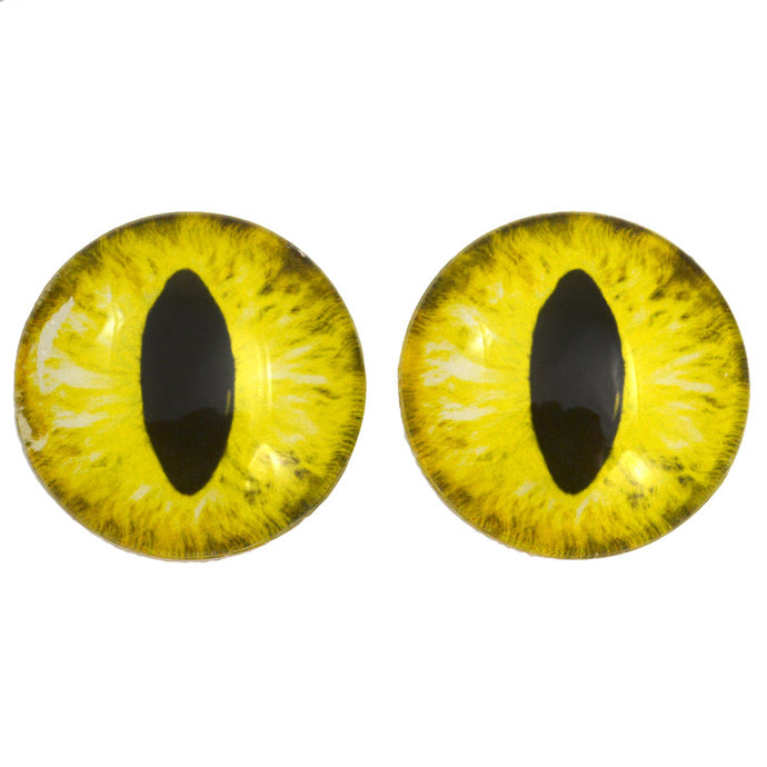 Yellow Cat Glass Eyes - Pick Your Size - Jewelry Making Art Dolls Taxidermy