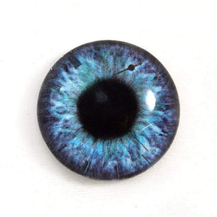 Steampunk Glass Eye Cabochon 25mm Blue and Purple Fantasy Human Eye for Jewelry