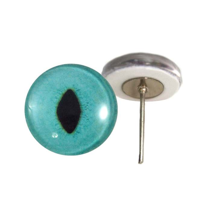 Turquoise Cat Glass Eyes On Wire Pin Posts for Felt Doll Making and Other Crafts