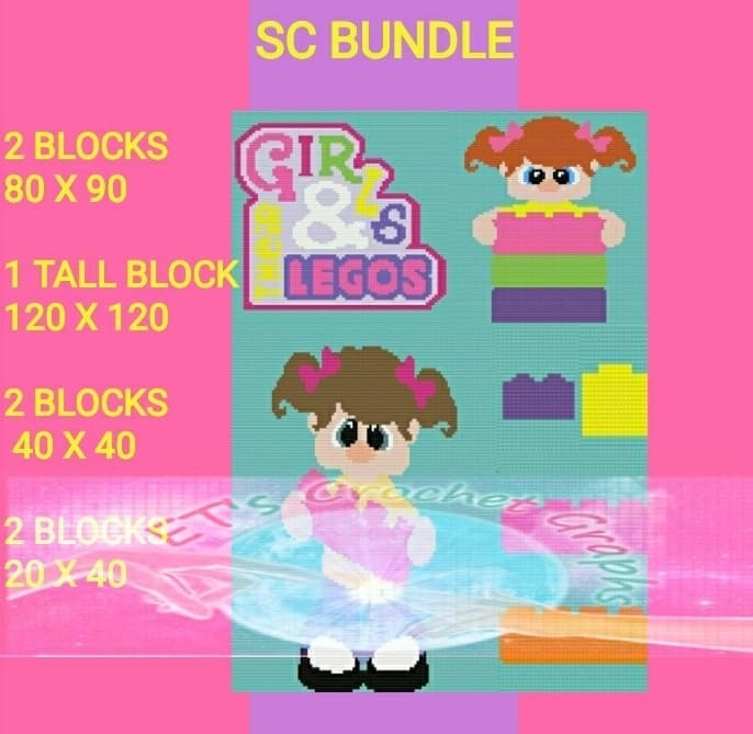 Girls & Lego s Bundle 7 Patterns SC - Graph with Written Color Chart