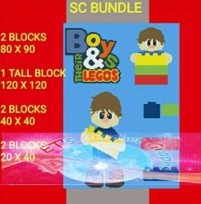 Boy Lego Bundle SC 7 Pattern s - Graph with Written Color Charts