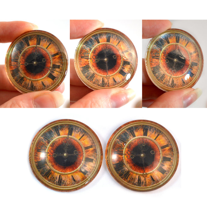 Vintage Clock Animated Glass Eyes Holographic Cabochons 14mm through 40mm