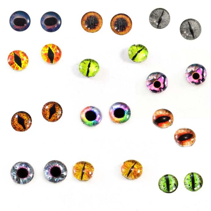Wholesale Bulk Glass Eye Cabochons 12 Sets of 8mm Fantasy Glass Eyes for Doll or