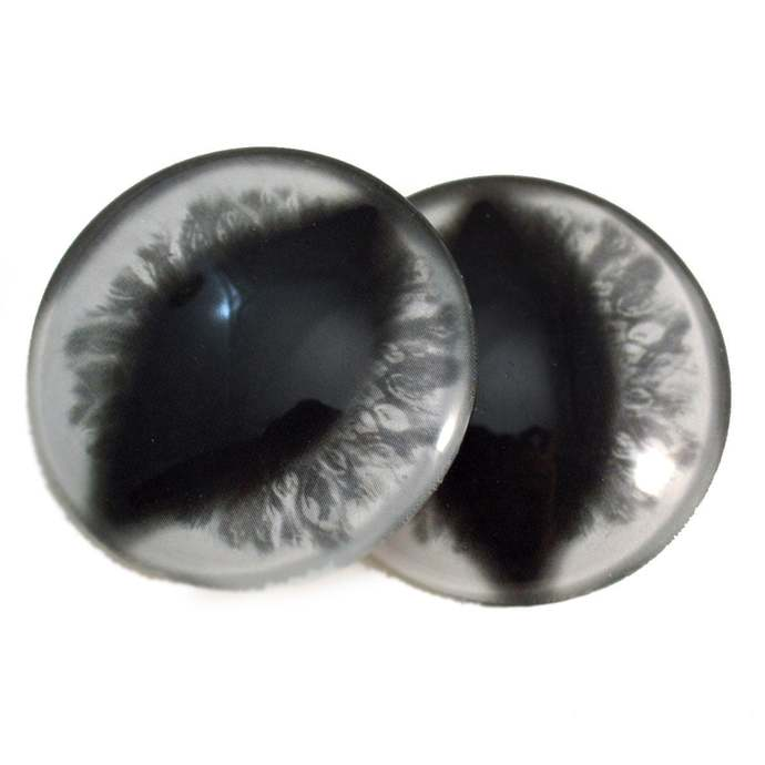 White Cat or Dragon Glass Eyes - Pick Your Size - Jewelry Making Art Dolls