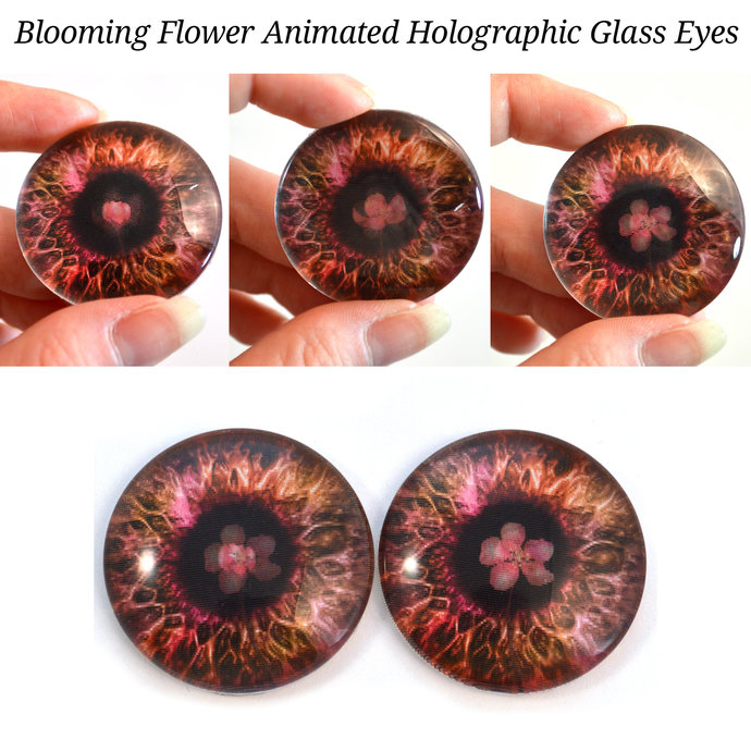 Blooming Flower Animated Holographic Glass Doll Eyes 40mm or 20mm Jewelry Art