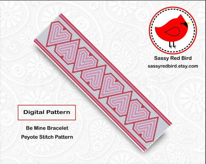 Peyote Stitch - Be Mine Bracelet Pattern
