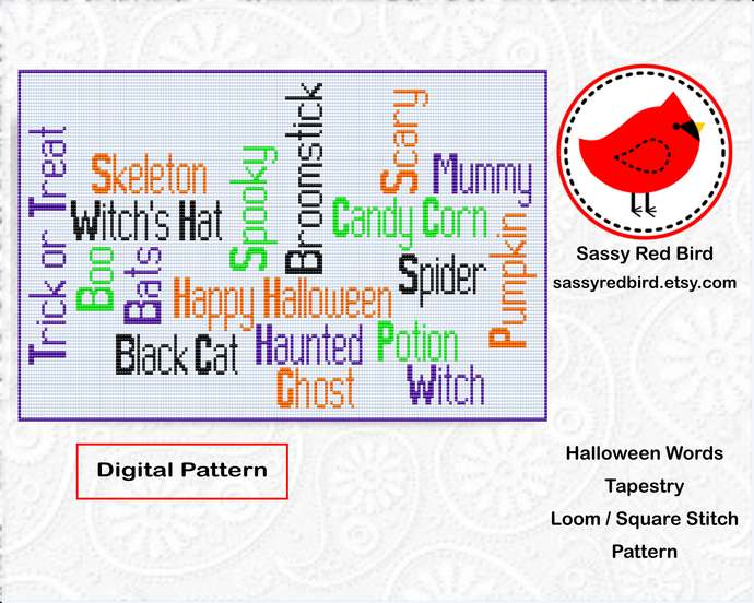 Loom / Square Stitch - Halloween Words Tapestry Pattern