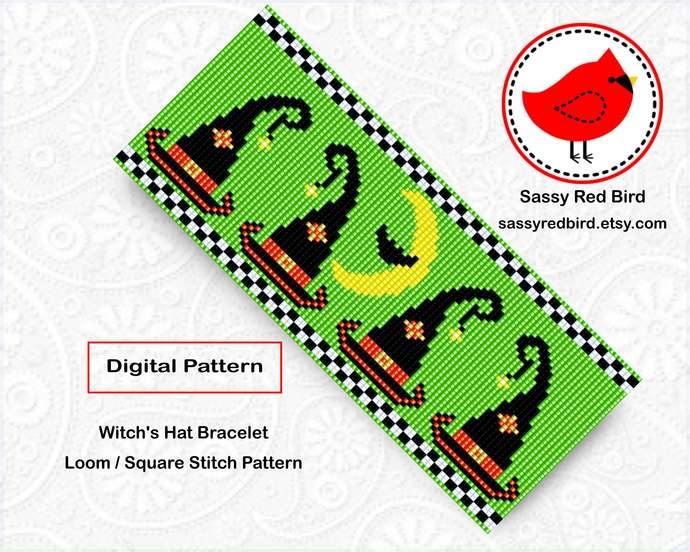 Loom / Square Stitch - Witch's Hat Bracelet Pattern