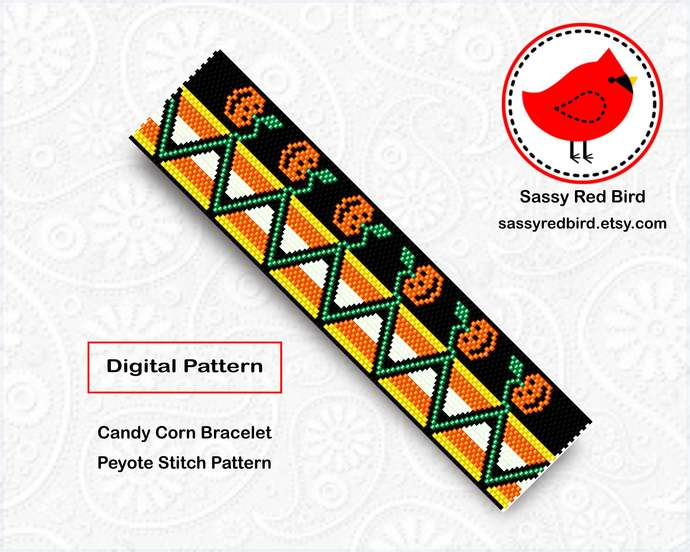 Peyote Stitch - Candy Corn Bracelet Pattern