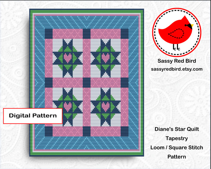 Loom / Square Stitch - Diane's Star Quilt Tapestry Pattern