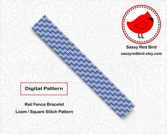 Loom / Square Stitch - Rail Fence Bracelet Pattern