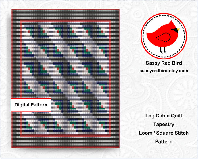 Loom / Square Stitch - Log Cabin Quilt Tapestry Pattern
