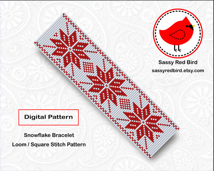Loom / Square Stitch - Snowflake Bracelet Pattern