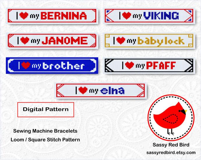 Loom / Square Stitch - Sewing Machine Bracelet Pattern
