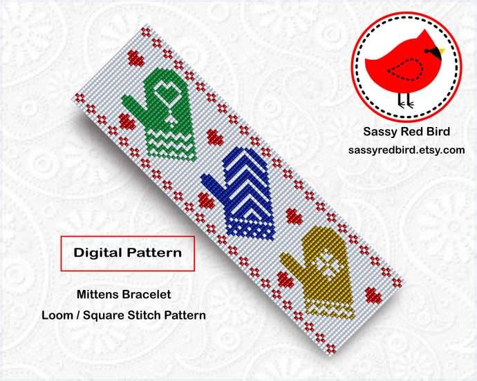 Loom / Square Stitch - Mittens Bracelet Pattern